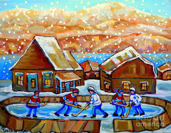Painting - Magical Wonderland Kids Playing Rink Hockey Falling Snow Our Hockey Nation Country Scene Memories by Carole Spandau