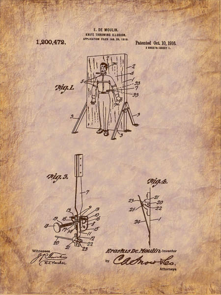 Digital Art - Magician - 1916 Knife Trowing Illusion Patent by Barry Jones