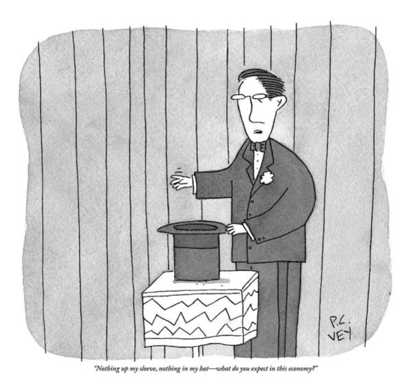 Nothing Drawing - Magician Stands In Front Of An Empty Top Hat by Peter C. Vey