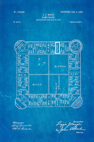Household Photograph - Magie Landlord's Game Patent Art 1904 Blueprint by Ian Monk