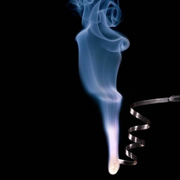 Oxidised Photograph - Magnesium Ribbon Burning In Air by Science Photo Library