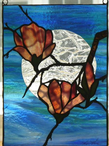 Glass Art - Magnolia by Karin Thue