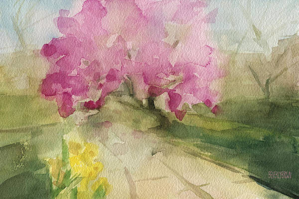 Pink Blossom Painting - Magnolia Tree Central Park Watercolor Landscape Painting by Beverly Brown