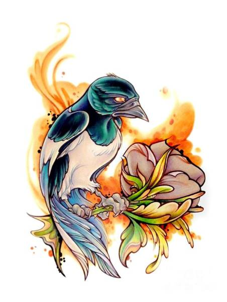 Magpies Drawing - Magpie by Gemma Pallat
