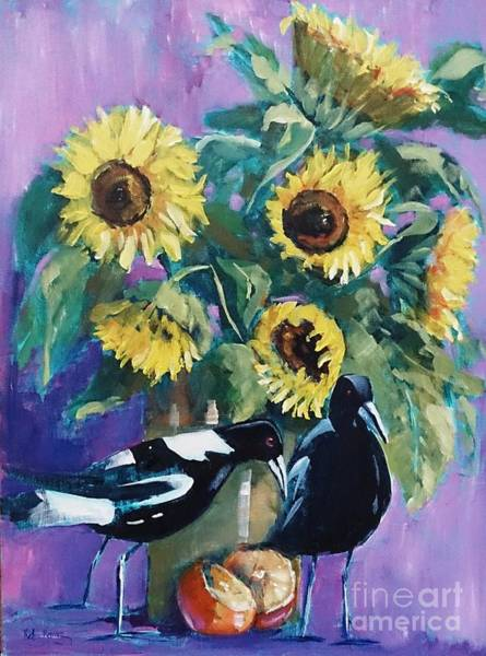 Painting - Magpies And Sunflowers by Kathy  Karas