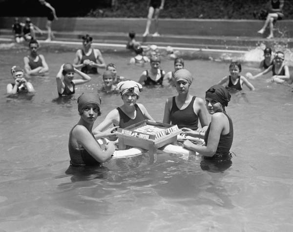 Vacation Time Photograph - Mah-jong In The Pool by Underwood Archives