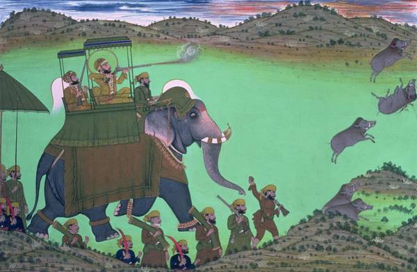 Shooting Painting - Maharana Sarup Singh Of Udaipur Shooting Boar From Elephant-back, Rajasthan, 1855  by Indian School