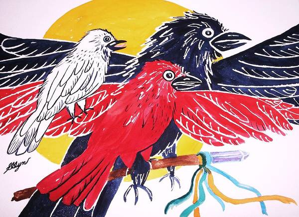 Crone Wall Art - Painting - Raven As Maiden Mother And Crone by Ellen Levinson