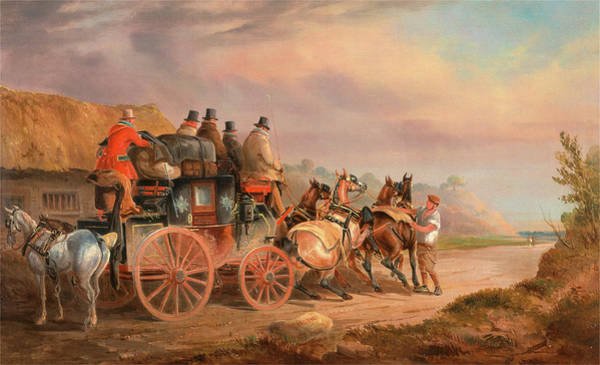 Devonport Wall Art - Painting - Mail Coaches On The Road The `quicksilver Devonport-london by Litz Collection