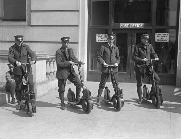 Wall Art - Photograph - Mailmen On Scooters by Underwood Archives