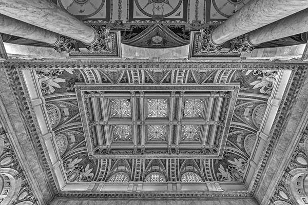 Photograph - Main Hall Ceiling Library Of Congress Bw by Susan Candelario