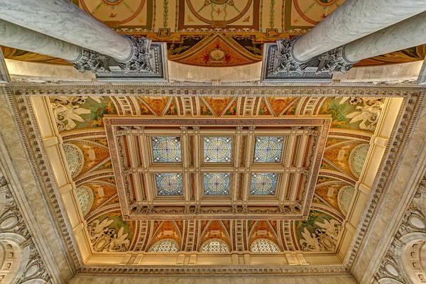 Photograph - Main Hall Ceiling Library Of Congress by Susan Candelario
