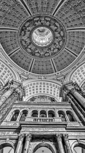 Photograph - Main Reading Room Library Of Congress Bw by Susan Candelario
