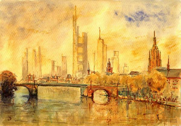 Wall Art - Painting - Main River Frankfurt by Juan  Bosco