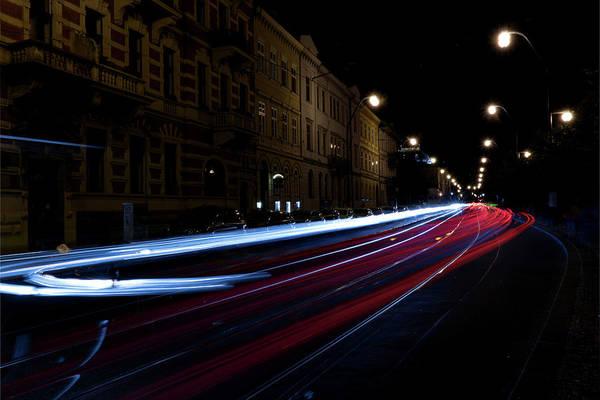 Main Road And Car Tail Lights At Night Art Print