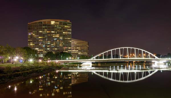 Ohio Photograph - Main St. Bridge Night Reflections by Wood-n-photography