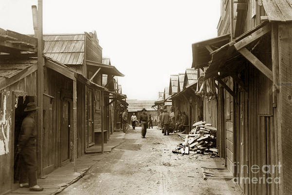 Photograph - Main Street Of The Pacific Grove Chinese Fishing Village Circa 1900 by California Views Archives Mr Pat Hathaway Archives