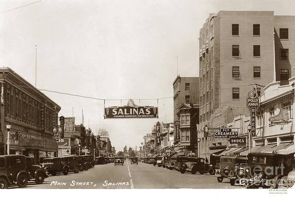 Photograph - Main And E. Alisal Streets Salinas Circa 1931 by California Views Archives Mr Pat Hathaway Archives