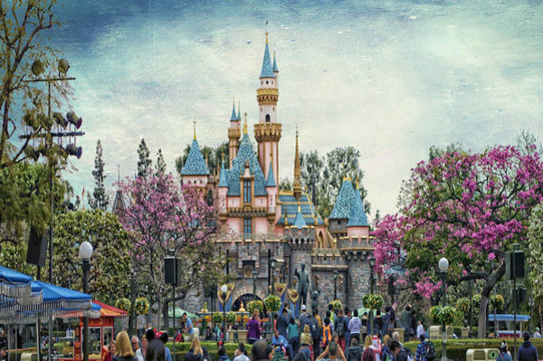 Wall Art - Photograph - Main Street Sleeping Beauty Castle Disneyland Textured Sky by Thomas Woolworth