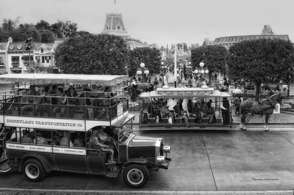 Clothier Photograph - Main Street Transportation Disneyland Bw by Thomas Woolworth