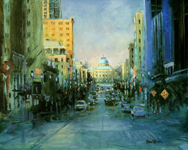 Downtown Raleigh Wall Art - Painting - Main Street Twilight by Dan Nelson
