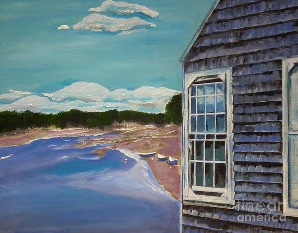 Painting - Maine Boathouse - Seashore - Blue  by Jan Dappen