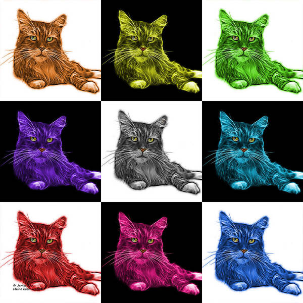 Painting - Maine Coon Cat - 3926 - V2 - M by James Ahn