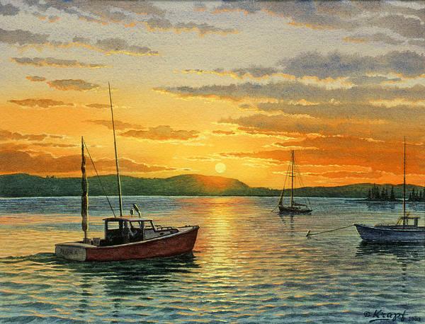 Wall Art - Painting - Maine Harbor Sunset by Paul Krapf
