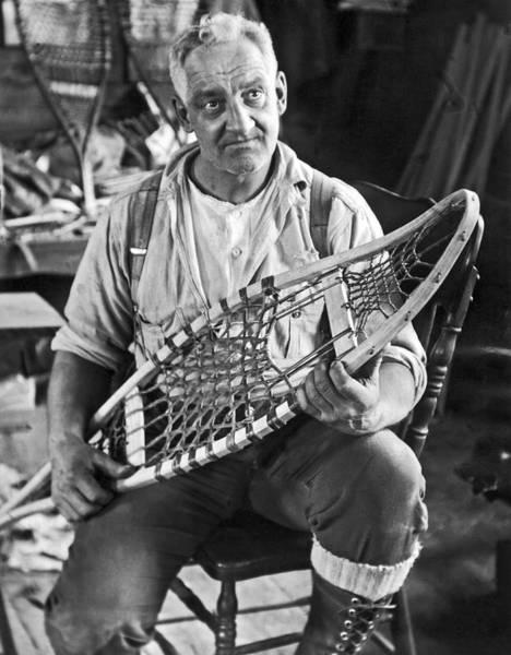 Snowshoe Photograph - Maine Man Makes Snowshoes by Underwood Archives
