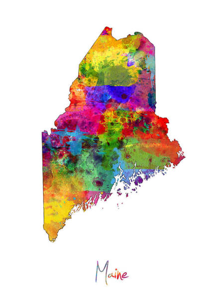 Portland Digital Art - Maine Map by Michael Tompsett