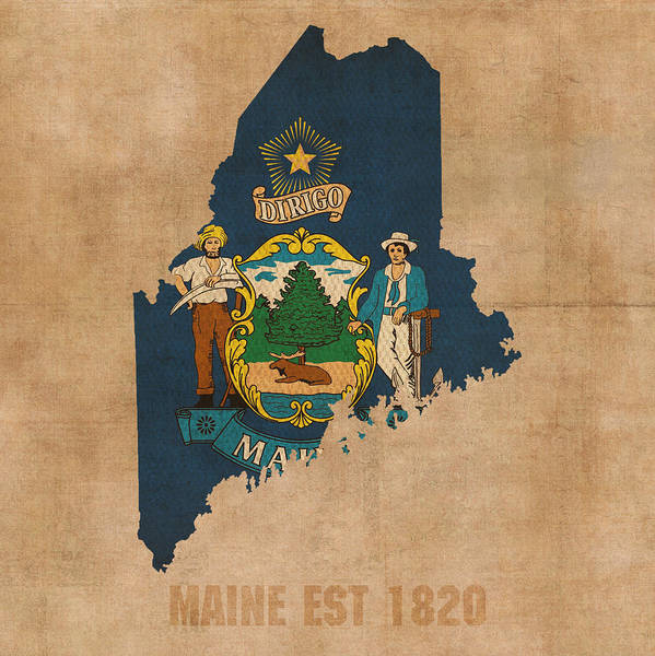 Maine State Flag Map Outline With Founding Date On Worn Parchment Background Art Print