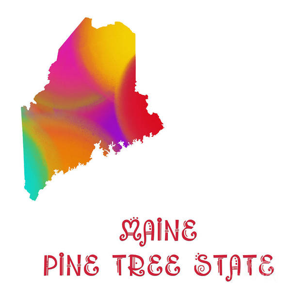Digital Art - Maine State Map Collection 2 by Andee Design