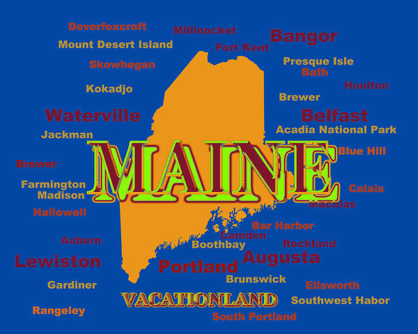 Houlton Photograph - Maine State Pride Map Silhouette  by Keith Webber Jr