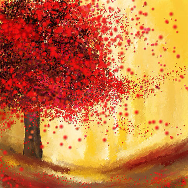 Lone Tree Painting - Majestic Autumn - Impressionist Painting by Lourry Legarde