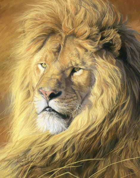 Lions Painting - Majestic - Detail by Lucie Bilodeau