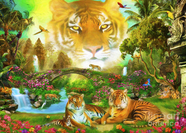 Majestic Digital Art - Majestic Tiger Grotto by MGL Meiklejohn Graphics Licensing