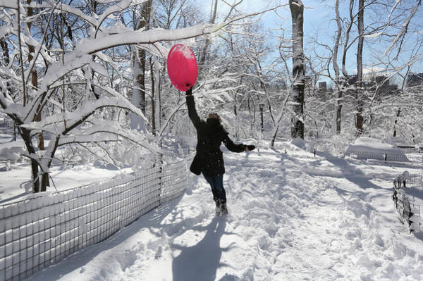 Photograph - Major Snowstorm Bears Down On New York by John Moore