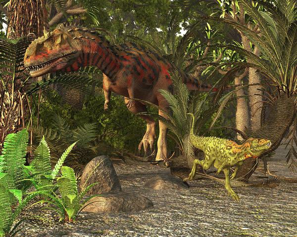 Abelisauridae Wall Art - Photograph - Majungasaurus And Masiakasaurus Of Late by Arthur Dorety