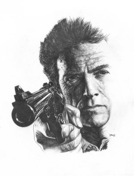 Clint Eastwood Drawing - Make My Day by JWB Art Unlimited