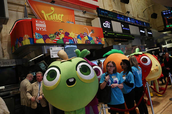 Makers Of Popular Candy Crush Game Make Public Debut On New York Stock Art Print by Andrew Burton