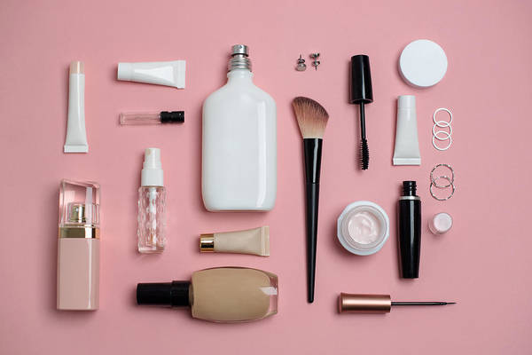 Makeup Bag With Variety Of Beauty Products Art Print by Emilija Manevska