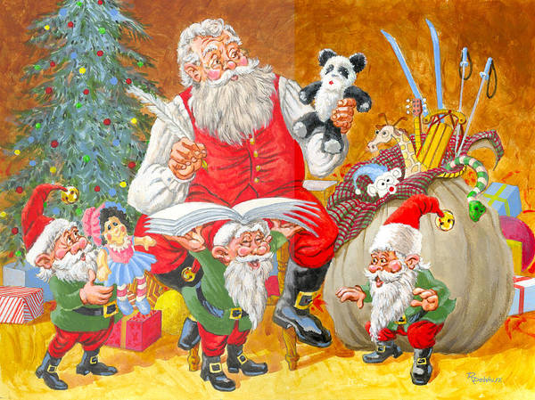 St Nicholas Painting - Making A List Checking It Twice by Richard De Wolfe