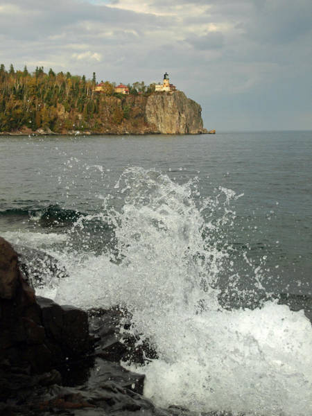 Photograph - Making A Splash At Split Rock Lighthouse  by James Peterson