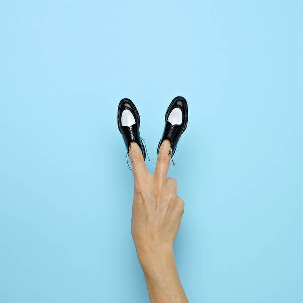 Human Hand Photograph - Making Peace Sign With Miniature Shoes by Juj Winn