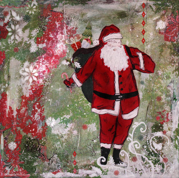 Santa Mixed Media - Making Spirits Bright by Janelle Nichol