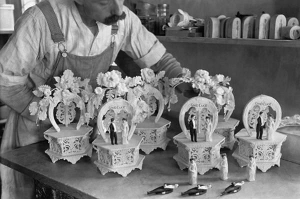 Wedding Cake Photograph - Making Wedding Cake Ornaments by Underwood Archives
