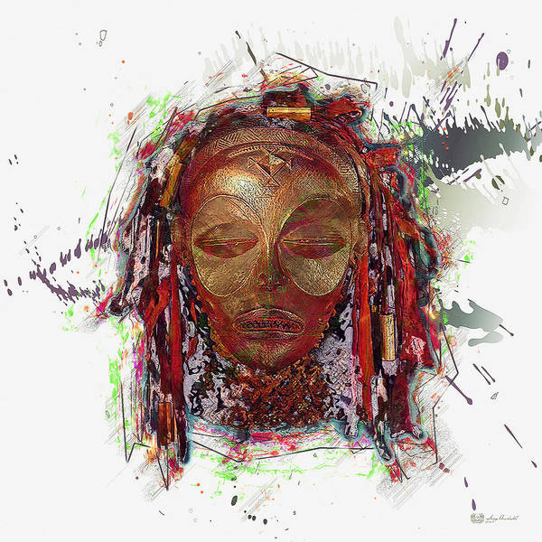 African Tribal Digital Art - Makonde Mapiko - Lipiko Mask by Serge Averbukh