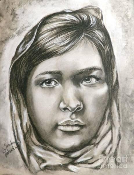 Wall Art - Drawing - Malala  Child Hero by Sandra Valentini