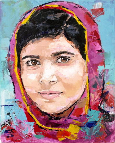 Shooting Wall Art - Painting - Malala Yousafzai by Richard Day