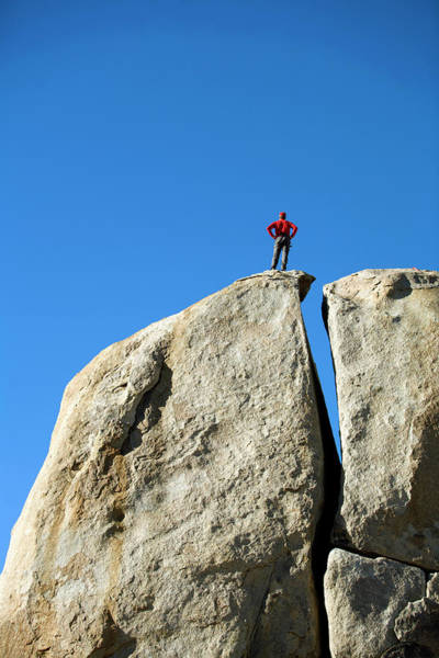 Wall Art - Photograph - Male Climber On Top Of Rock by Corey Rich